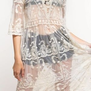 Embroidered Mesh Midi Dress - Natural/Cream